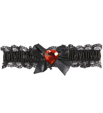 BLACK GARTER W/RED GEM