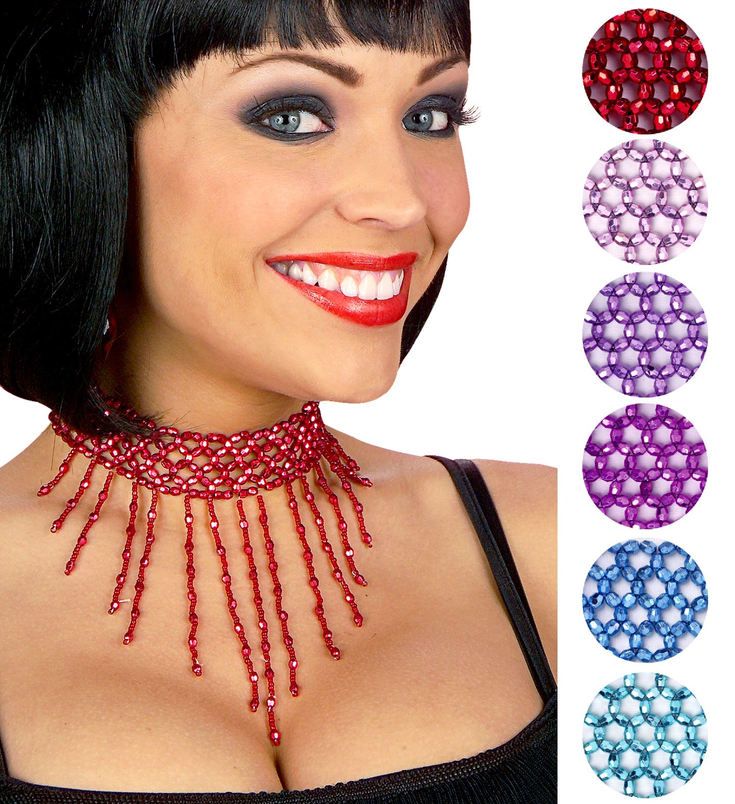 Beaded Choker - 6 Colours Jewellery 20s 30s Fancy Dress