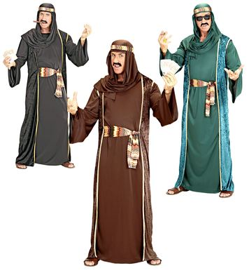 ARAB SHEIK COSTUME black/brown/green (robe belt hat)