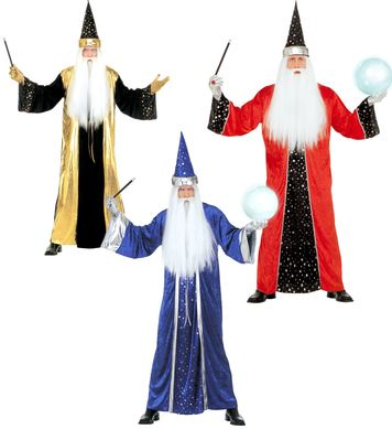 FANTASY WIZARD red/blue/gold (robe hat)