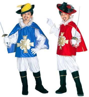 MUSKETEER - blue/red (shirt o/coat pants cape bcover Childrens