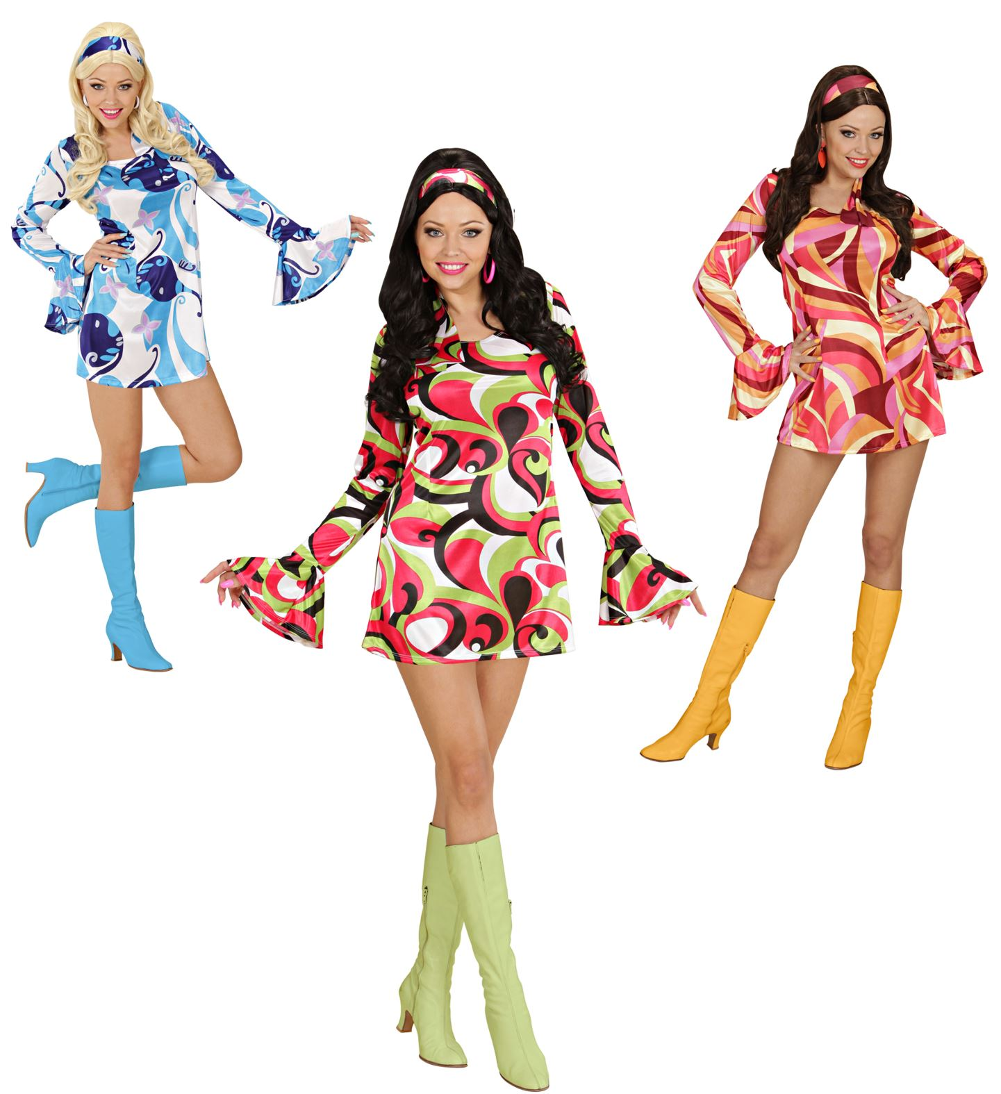 Ladies 70s Chick **Green/Pink/Blue Costume 70s Fancy Dress
