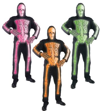 3D NEON SKELETON - 3 colours (jumpsuit mask) Childrens