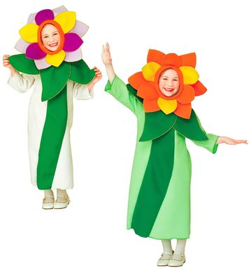 FLOWER COSTUME (3-4yrs/4-5yrs) white/green (dress hat)