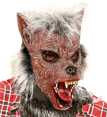 WEREWOLF HALF FACE MASK WITH HAIR - CHILD