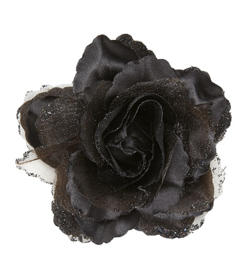 BLACK ROSE HAIR CLIP WITH GLITTER