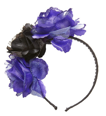 3 PURPLE-BLACK ROSES HEADBAND WITH GLITTER