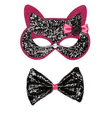 BLACK-PINK GLITTER CAT EYEMASK & BOW TIE
