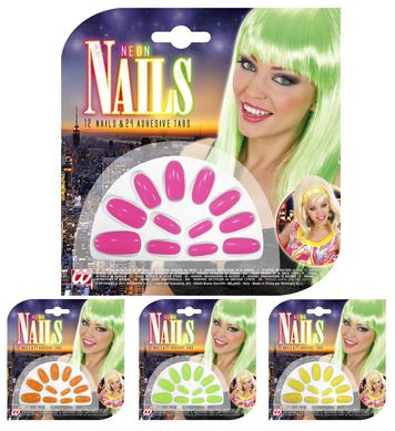 NEON NAILS SET 12 W/24 ADHES - 4 colours