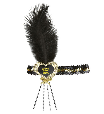 BLACK-GOLD HAPPY NEW YEAR GLITTER HEART SEQUIN HEADBAND