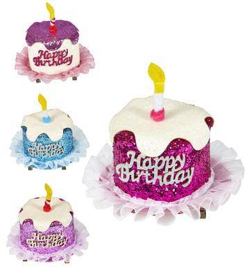 GLITTER HAPPY BIRTHDAY CAKE HAIR CLIP - 4 colors ass