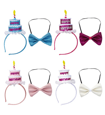 HAPPY BIRTHDAY CAKE HEADBAND & BOW TIE 4 colors ass