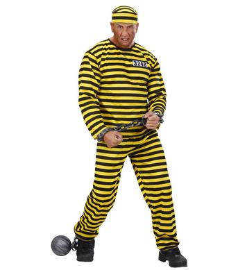 CONVICT COSTUME - yellow/black (coat pants hat)