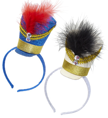 GLITTER MAJORETTE MINI HAT - BLUE OR WHITE