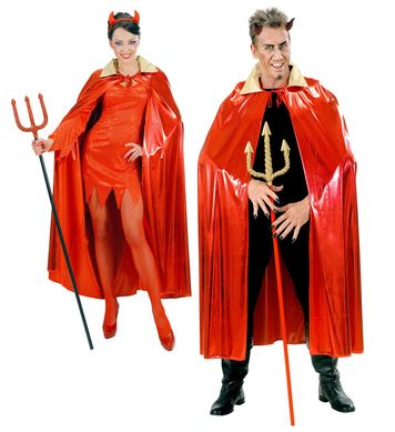 METALLIC RED CAPE W/GOLD COLLAR - ADULT SIZE