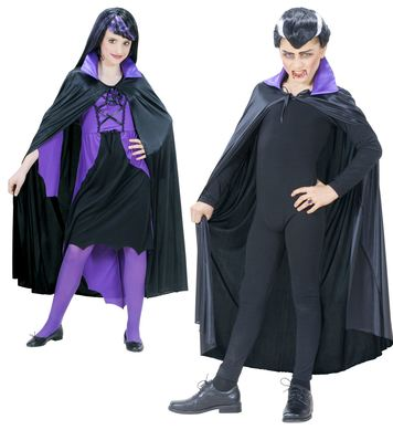 BLACK CAPE W/PURPLE COLLAR - CHILD SIZE