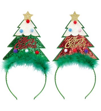 GLITTER CHRISTMAS TREE HEAD BOPPER - 2 cols asstd