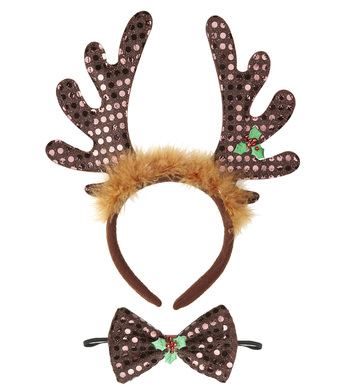 SEQUIN REINDEER HORNS & BOW TIE