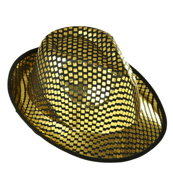 GOLD SQUARE SEQUINS FEDORA