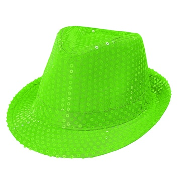 SEQUIN FEDORA - NEON GREEN