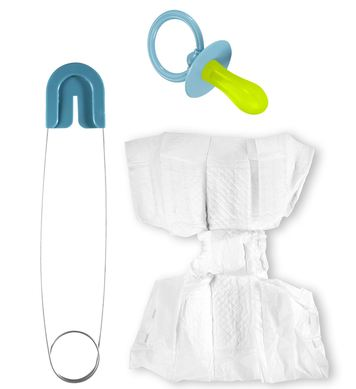 BLUE BABY SET (diaper, pin, pacifier)