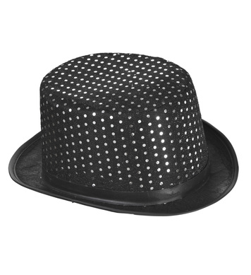 BLACK LUREX TOP HAT WITH SEQUIN