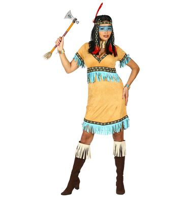BEIGE NATIVE INDIAN (dress, headband with feather)