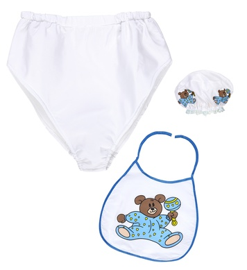 BLUE BABY dress-up set (bonnet, bib, giant diaper)