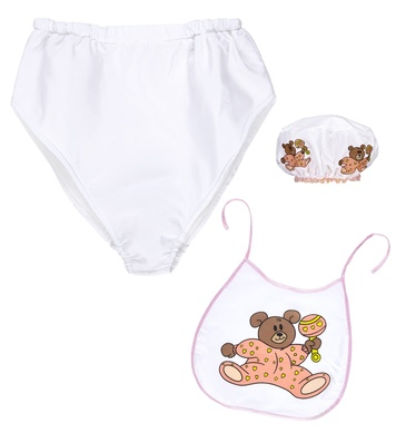 PINK BABY dress-up set (bonnet, bib, giant diaper)