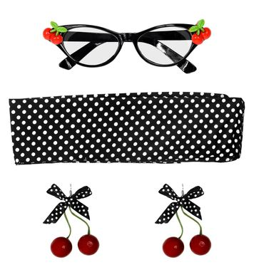 50s CHERRY SET (glasses, earrings, scarf)