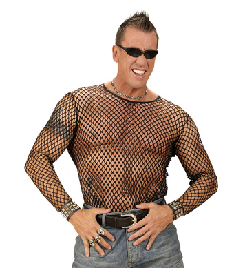 BLACK FISHNET SHIRT - BLACK (XL/XXL)