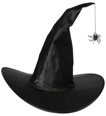 BENDABLE SATIN WITCH HAT WITH HANGING SPIDER
