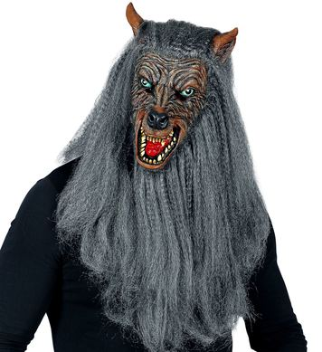 FULL HEAD MASK WITH FUR - WEREWOLF