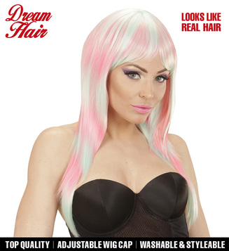 LONG MELANGE FASHION WIG - PINK-TURQUOISE