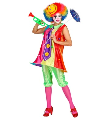 CLOWN (dress with hooped hemline and tie, pantaloons)