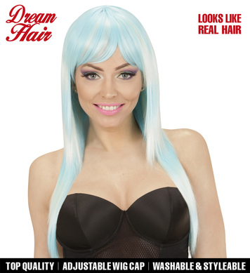 LONG MELANGE FASHION WIG - BLUE-TURQUOISE