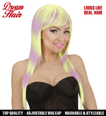 LONG MELANGE FASHION WIG - PURPLE-YELLOW