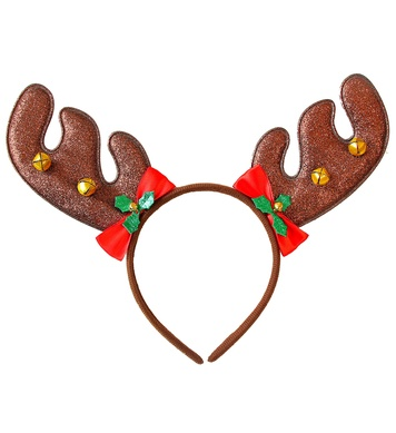 REINDEER HORNS WITH BOWS & JINGLE BELLS
