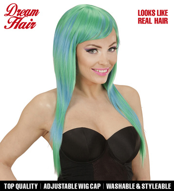 LONG MELANGE FASHION WIG - GREEN-BLUE