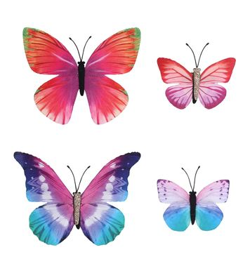 SET OF 4 BUTTERFLY HAIR CLIPS 4 colors ass.
