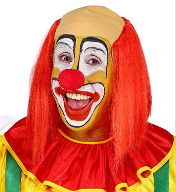 CLOWN HEADPIECE WITH RED STRAIGHT HAIR