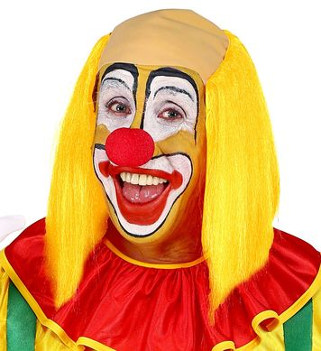 CLOWN HEADPIECE WITH YELLOW HAIR