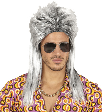 80s MULLET WIG in polybag - GREY
