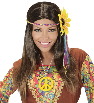 BROWN HIPPIE WIG W/MULTI SUNFLOWER H/BAND IN POLYBAG