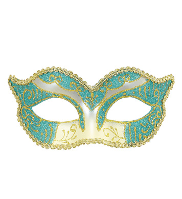 DUCHESS EYEMASK DECORATED - AZURE & GOLD GLITTER