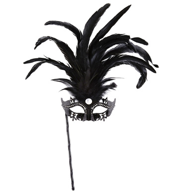 BLACK MARQUISE EYEMASK ON A STICK DECORATED WITH STRASS, GLI