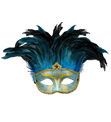 BLUE COMTESSE MASK DECORATED WITH GLITTER, GEM & FEATHERS