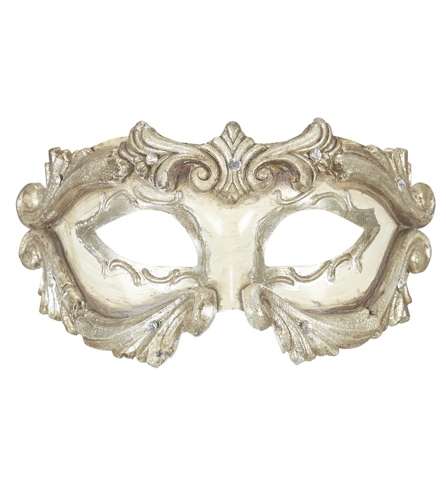 Deluxe Ivory Baroque Colombina Mask With Strass Eyemask Fancy Dress
