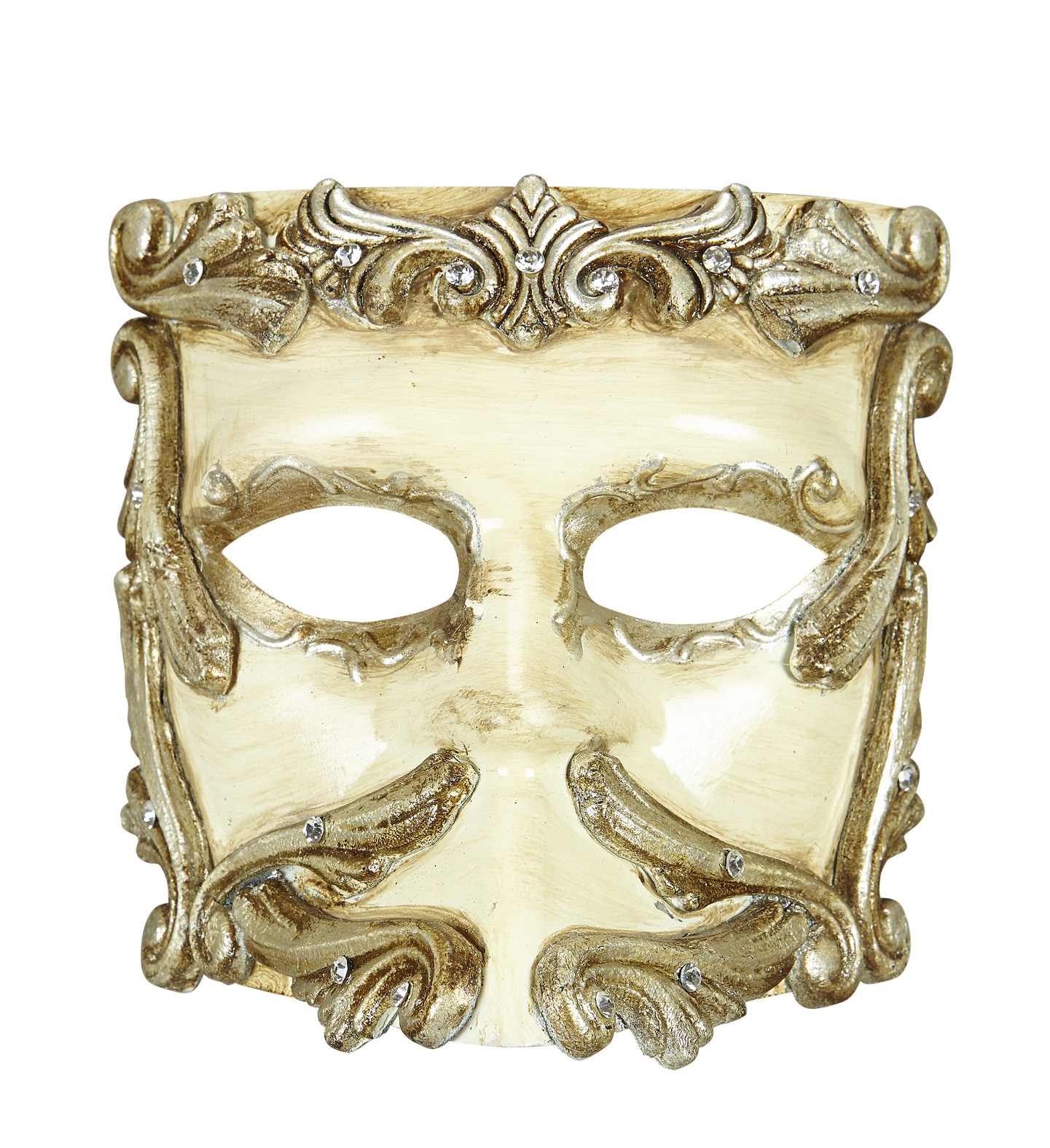 Deluxe Ivory Baroque Casanova Mask With Strass Eyemask Fancy Dress