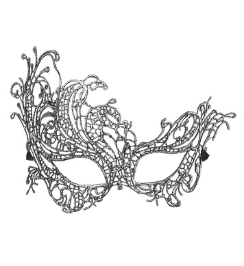 ANTIQUE SILVER BAROQUE LACE EYEMASK